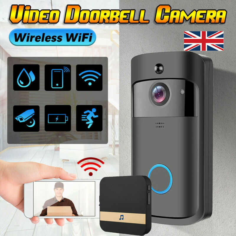 Wireless WiFi Doorbell Smart Door Ring HD Video Intercom ...